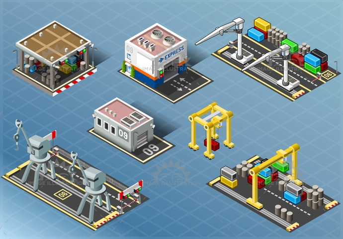 background, building, business, cargo, city, container, crane, delivery, depot, design, distribution, hub, icon, illustration, industrial, isometric, logistics, office, pack, pier, port, quay, set, storage, store, street, town, vector, vehicle, warehouse