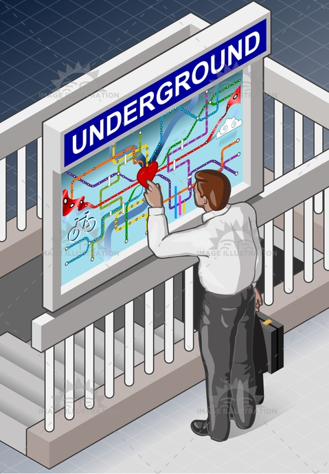 background, city, clerk, concept, Diagram, heart, info, infographic, isometric, line, london, lost, man, map, metro, people, public, research, scheme, search, staircase, station, stop, subway, transport, travel, underground, urban, way, worker