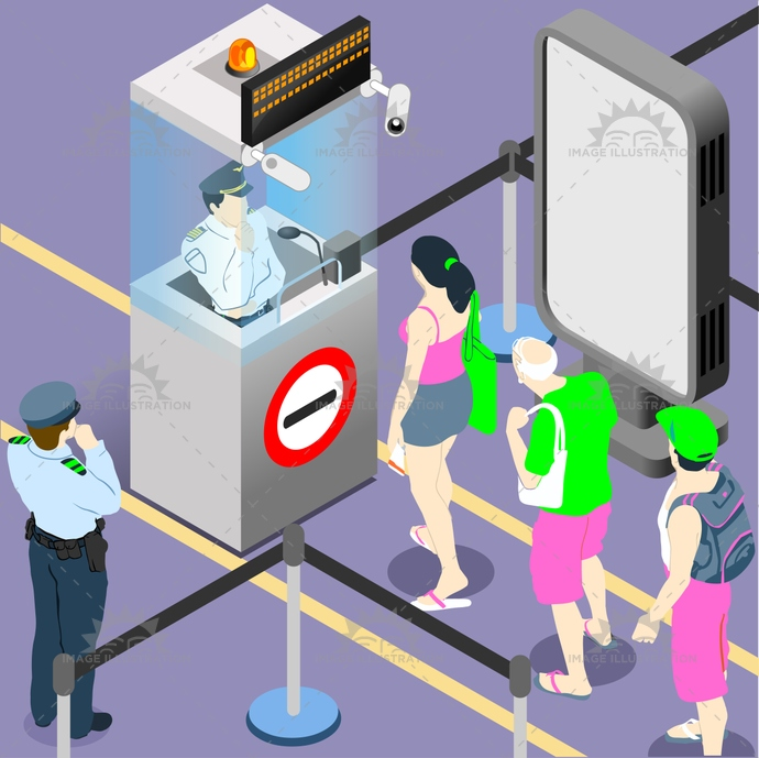3d, airport, arrival, character, check-in, conceptual, control, customs, departure, duty, flat, illustration, infographic, isometric, line, luggage, male, officer, passport, people, police, queue, schedule, security, staff, stylish, template, vector, web