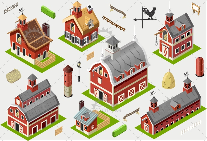 american, axonometric, barn, building, cattle, countryside, dairy, farm, fence, great, hayloft, historic, illustration, infographic, isometric, liberty, new hampshire, old, patio, postcard, ranch, rural, set, sheaf, silos, storage, tile, vector, weather vane, wood