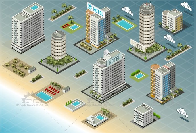 architecture, background, beach, building, business, city, cloud, coastal area, coastline, exterior, holiday, hotel, house, icon, illustration, isometric, modern, palm, resort, sand, sea, seaside, set, skyscraper, summer, swimming pool, tourist, town, tropical, vector