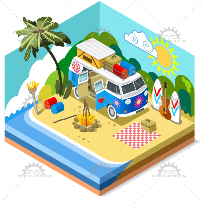 3d, app, beach, camping, equipment, fire, flat, foreshore, game, hippie, holiday, icon, illustration, isolated, isometric, life, logo, palm, picnic, sea, stylish, summer, surfboard, template, time, vacation, van, vector, web, white
