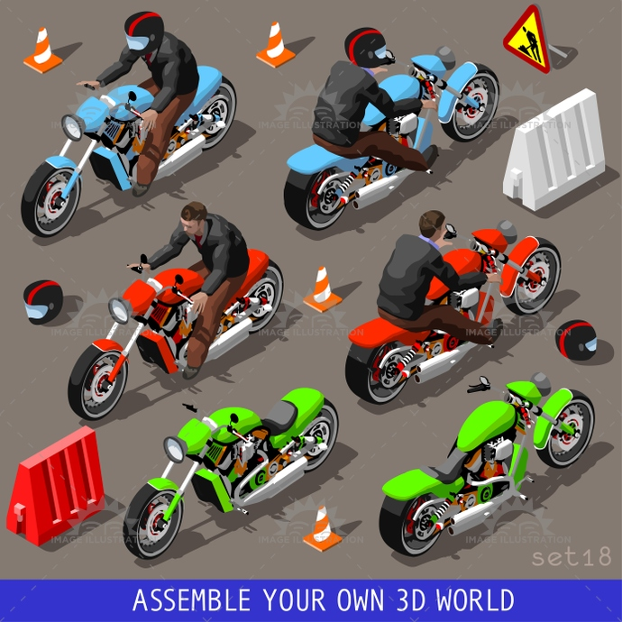 3d, biker, build, collection, flat, harley, icon, illustration, industry, infographic, isolated, isometric, isometry, motor, motorbike, motorcycle, objects, ride, road, set, sport, template, tile, traffic, transport, vector, vehicle, web, wheel