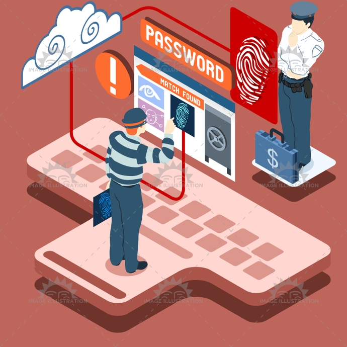 access, area, authentication, biometric, burglar, card, check, control, cybercrime, data, denied, fingerprint, identification, identity, illustration, infographic, isometric, reader, recognition, reserved, scan, scanner, security, sensor, system, technology, theft, thief, vector, violation