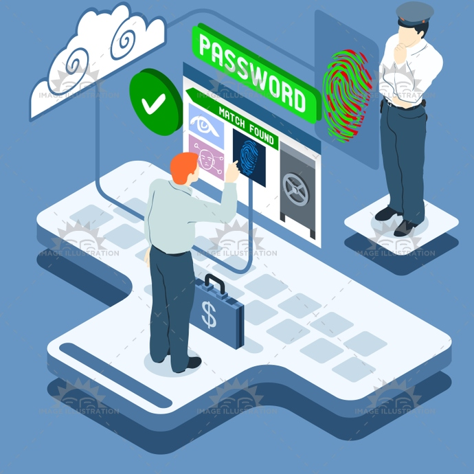 access, allowed, area, authentication, biometric, card, cctv, check, cloud, control, data, eye, face, facial, fingerprint, identification, identity, illustration, infographic, isometric, reader, recognition, reserved, scan, scanner, security, sensor, system, technology, vector