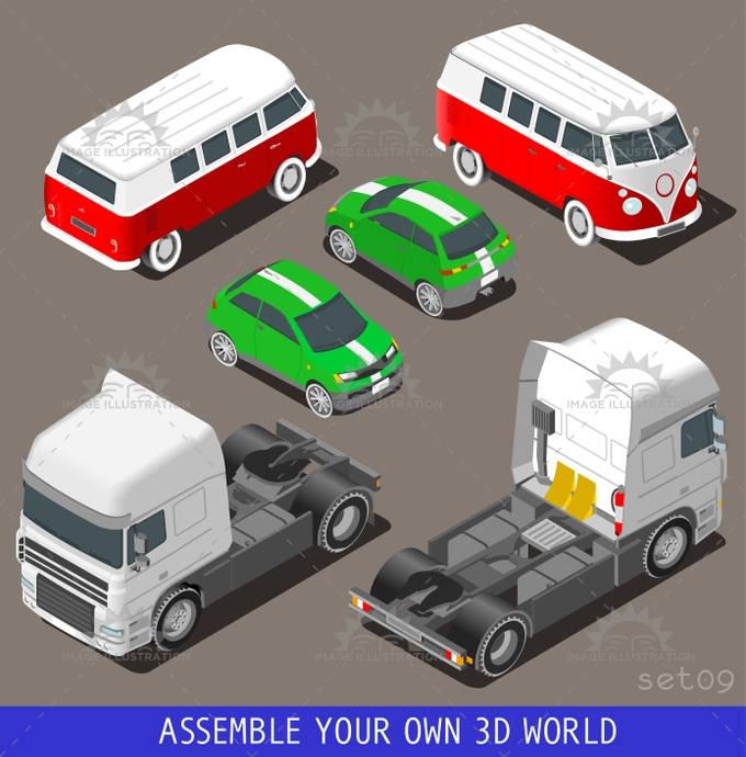 3d, build, car, cargo, carrier, collection, driving, flat, hippy, icon, illustration, industry, infographic, isolated, isometric, isometry, motor, objects, set, solo, template, tile, traffic, transport, truck, van, vector, vehicle, web, wheel