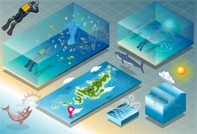 adventure, application, background, barracuda, carribean, coral, diving, exotic, fish, holidays, honeymoon, illustration, infographic, isometric, marine, meteo, ocean, paradise, reef, scuba, shark, ship, sport, sub, sub sea, tourism, travel, tropical, vacation, vector
