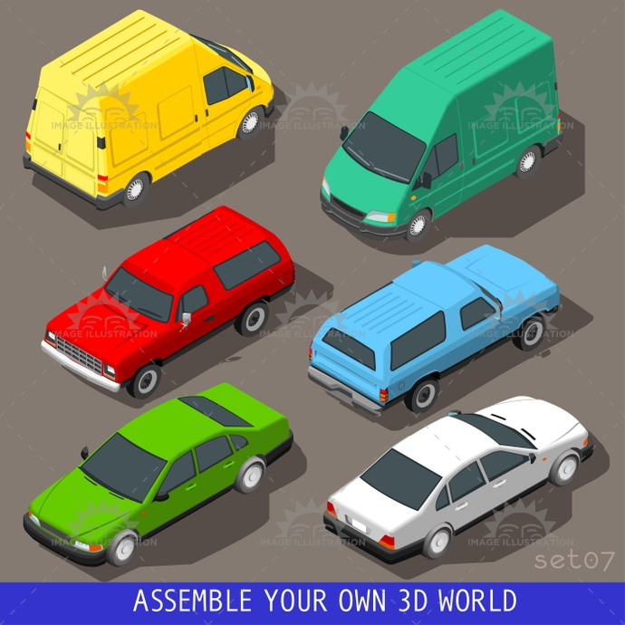 3d, automobile, build, car, cargo, carrier, collection, delivery, flat, icon, illustration, industry, infographic, isolated, isometric, isometry, motor, objects, panel, set, street, tile, traffic, transport, truck, van, vector, vehicle, web, wheel