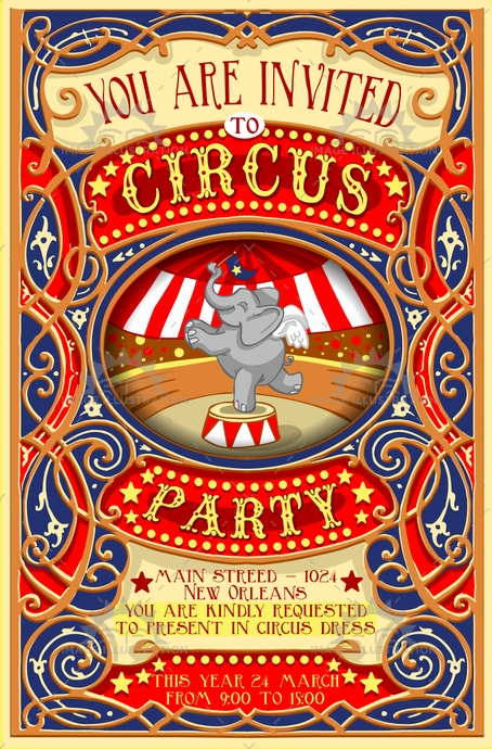 Circus Party Invitation Vintage  Image Illustration