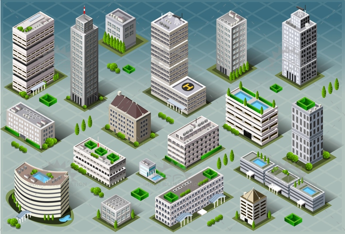 3d, apartment, architecture, blue, building, business, city, cityscape, collection, construction, design, estate, graphic, home, house, icon, icons, illustration, isometric, model, office, perspective, plan, real, set, skyscraper, street, town, urban, vector