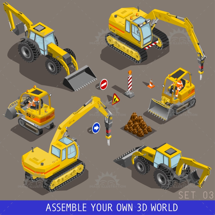 3d, auto, build, cargo, carrier, cement, city, dump, excavator, flat, icon, illustration, infographic, isometric, loader, mixer, motor, road, roller, set, street, tow, traffic, transport, truck, van, vector, vehicle, web, world