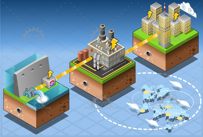 alternative, city, clean, dam, Diagram, dyke, ecology, Electricity, energy, environment, environmental, farm, Generator, green, harvesting, house, illustration, infographic, isometric, plant, Power Station, renewable, set, Source, technology, tower, turbine, vector, water