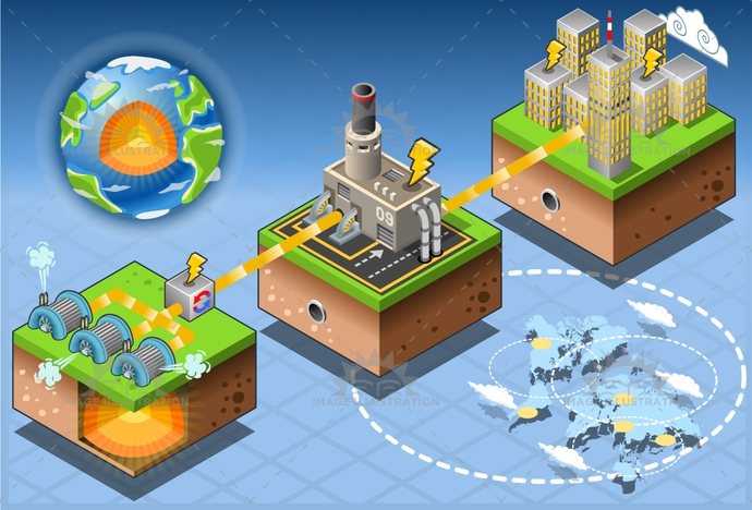 alternative, city, clean, Diagram, ecology, Electricity, energy, environment, exchanger, farm, Generator, Geothermal, green, harvesting, house, illustration, infographic, isometric, loop, plant, Power Station, pump, renewable, set, Source, technology, turbine, vector, volcanic, water