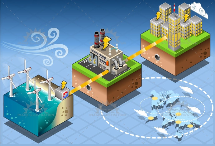 alternative, building, city, Diagram, eco, Electricity, energy, environment, farm, flow, Generator, green, harvesting, illustration, infographic, isometric, ocean, offshore, pipe, plant, power, renewable, Source, station, technology, turbine, vector, wind, windfarm, windmill