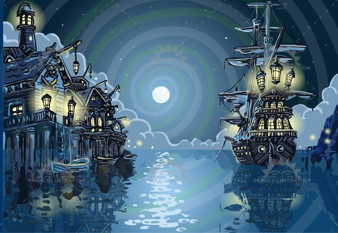 adventure, background, bay, buccaneer, caribbean, child, cove, faery, galleon, harbor, illustration, island, kids, moon, mystery, neverland, night, ocean, party, pirate, sail, sea, ship, skull, treasure, vector, vessel, village, vintage, water