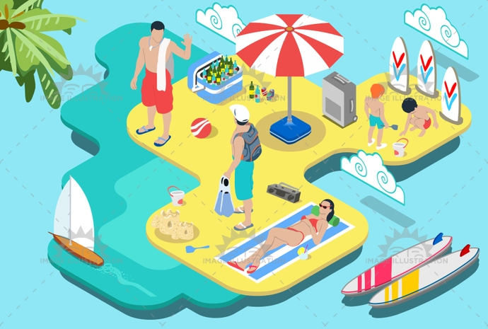 agency, beach, camp, camping, equipment, extended, family, flat, girl, holiday, illustration, industry, infographic, island, isometric, man, onshore, people, picnic, resort, scuba, summer, sunbathe, sunset, surf, tourism, tropical, vacation, vector