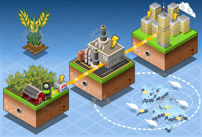 alternative, bio, biomass, boil, building, compost, Diagram, diesel, eco, Electricity, energy, environment, farm, flow, gas, Generator, green, harvesting, illustration, infographic, isometric, pipe, plant, power, renewable, resource, Source, station, technology, vector