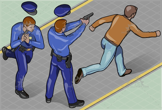 arrest, background, badge, chase, city, cop, crime, criminal, escape, fire, gangster, guard, hat, isometric, justice, landscape, law, man, person, police, policeman, road, robber, robbery, run, security, shoot, theft, thief, uniform