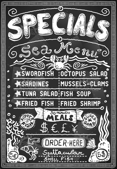 antique, background, banner, blackboard, breakfast, chalk, communication, cook, coral, crayon, cuisine, decoration, fish, freehand, gastronomy, grab, graphic, handwriting, meal, menu, old, placecard, placeholder, retro, scroll, sea, shell, starfish, typography, vintage