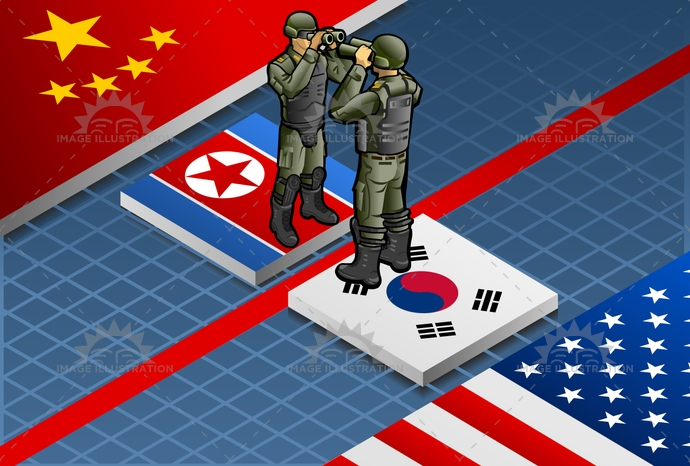 america, armedforces, armor, army, binoculars, china, Concepts, coreaofsouth.coreaofnorth, crisis, danger, default, destruction, Failure, flag, Fracture, isolated, isometric, menace, military, nuclear, observer, Occupation, panic, Problems, protection, uniform, US, war