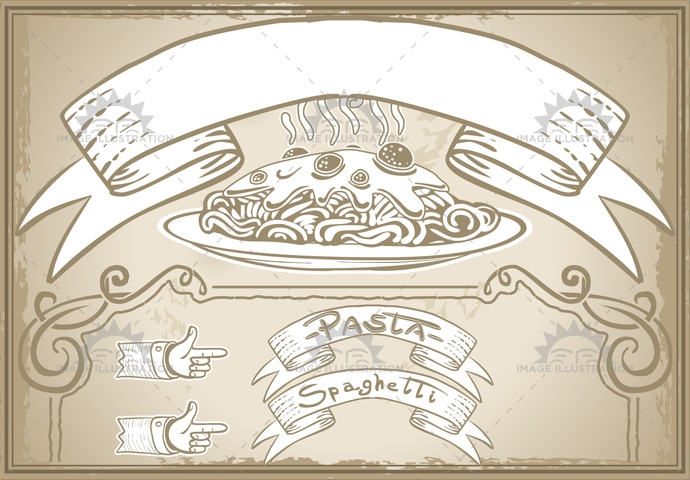 aged, ancient, antique, banner, carboidrate, crayon, cuisine, firstcourse, font, food, gastronomy, handwriting, italia, italianculture, meatball, menu, old, pasta, pastel, patty, plate, pointinghand, restaurant, retro, sauce, scroll, sepia, spaghetti, typography, vintage