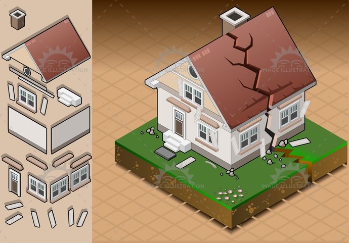 architecture, breaking, Collapsing, Concepts, Cracked, Crevice, Damaged, danger, disaster, displaced, dividing, door, earthquake, ecologicaldamage, environment, evacuation, Failure, fireplace, Fracture, house, isolated, isometric, palace, pitchedroof, risk, roof, terrain, window