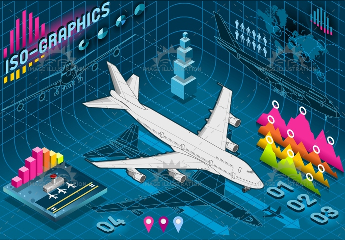 aircraft, airplane, airport, bar, business, chart, concept, cost, curve, data, Diagram, fly, graph, graphic, histogram, icon, infographic, information, isolated, isometric, jet, map, percentage, plane, presentation, report, sign, transport, world