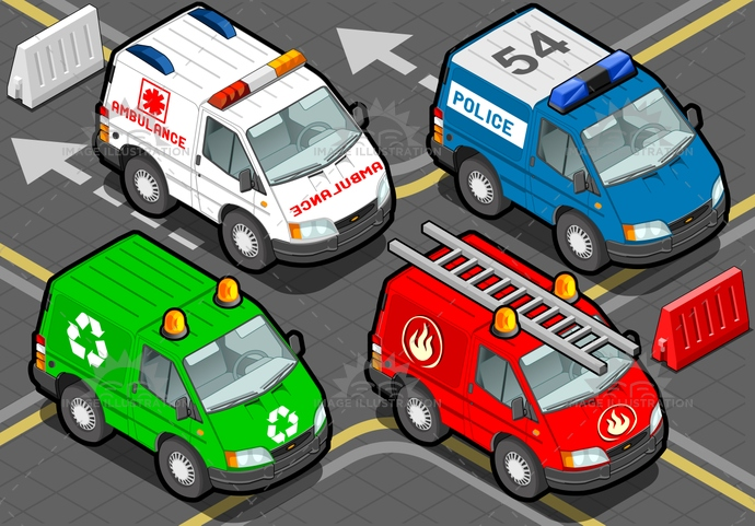 aid, ambulance, delivery, emergency, extinguisher, fire, firefighters, Garbage, Headlight, isolated, isometric, order, patrol, police, recycling, rescue, safety, security, service, siren, Surveillance, Taxi, urgency, van, vehicle, videogame