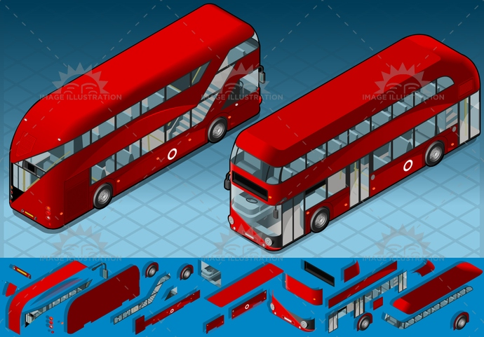 bus, Double-DeckerBus, england, frontview, isometric, london, MotorVehicle, publictransport, red, transport, transportation, van, vector, vehicle