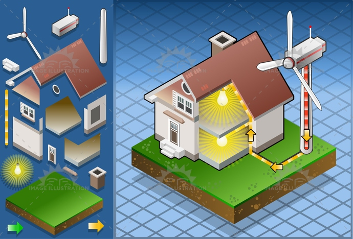 aeolic, alternative, architecture, Diagram, eco, ecology, economy, Electricity, energy, environment, Generator, green, house, isolated, isometric, PowerStation, renewable, Resourceful, roof, saving, sky, sun, turbine, wind, windmill