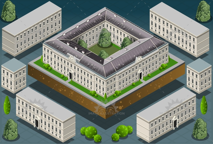 ancient, architecture, artistic, building, castle, city, culture, europe, european, famous, garden, historic, history, house, illustration, isometric, landmark, medieval, Monument, old, palace, park, residence, tower, travel, university, vector, versailles