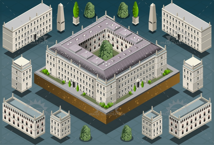 ancient, architecture, artistic, building, castle, city, culture, europe, european, famous, garden, historic, history, house, illustration, isometric, landmark, medieval, Monument, old, palace, park, residence, royal, tower, travel, university, vector, versailles