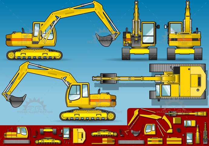 build, builder, Bulldozer, CivilEngineering, construct, construction, ConstructionMachinery, crawlers, dig, digger, digging, dirty, EarthMover, engineering, equipment, excavate, excavator, frontview, heavy, HydraulicPlatform, industry, iron, isolated, landvehicle, lateralview, machine, MachinePart, machinery, mining, orthogonal, Piston, power, rearview, Scraper, shovel, topview, underview, vector, Working, yellow