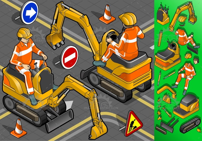 build, builder, construct, construction, crawlers, dig, digger, digging, engineering, equipment, excavate, excavator, Hardhat, industry, isometric, leverage, machinery, reflective, shovel, vector, worker