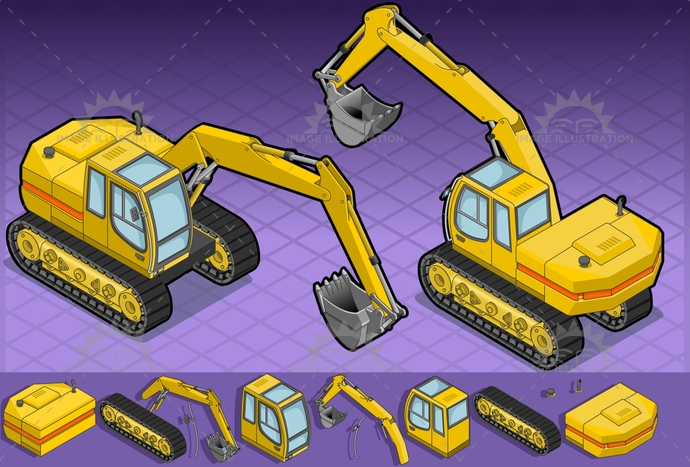 build, builder, Bulldozer, CivilEngineering, construct, construction, ConstructionMachinery, crawlers, dig, digger, digging, dirty, EarthMover, engineering, equipment, excavate, excavator, heavy, HydraulicPlatform, industry, iron, isolated, isometric, landvehicle, machine, MachinePart, machinery, mining, Piston, power, Scraper, shovel, vector, Working, yellow