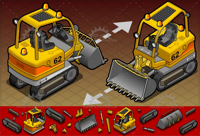 build, builder, construct, construction, crawlers, dig, digger, digging, engineering, equipment, excavate, excavator, industry, isometric, leverage, machinery, reflective, shovel, vector, worker
