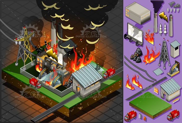 Fire Disaster 01 Building Isometric