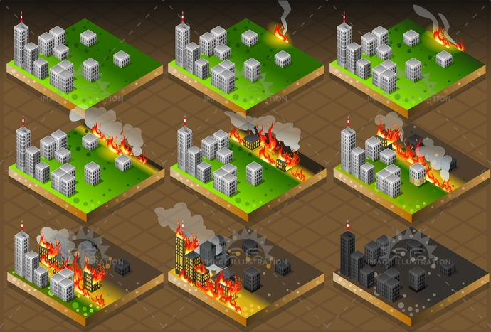background, building, buildings, burning, calamity, cartoon, catastrophe, city, climate, damage, danger, disaster, displaced, evacuation, fire, flame, house, image, insurance, isolated, isometric, life, light, natural, palace, red, risk, set, weather