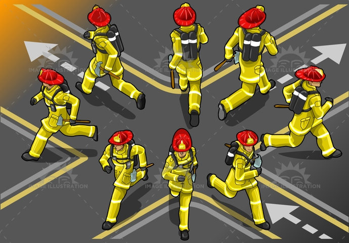 accident, adult, alarm, back, clean, clothes, clothing, danger, emergency, equipment, extinguisher, fire, firefighter, fireman, front, hand, heat, helmet, help, hero, humanbody, isolated, isometric, male, man, people, professional, red, runner, safety, salvage, security, uniform, urgency