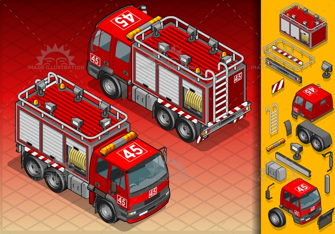carrier, container, danger, driving, emergency, extinguisher, firefighter, fireman, frontview, illustration, isolated, isometric, landvehicle, lights, MotorVehicle, rearview, red, reflector, safety, spotlight, tire, transport, transportation, truck, vector, wheel