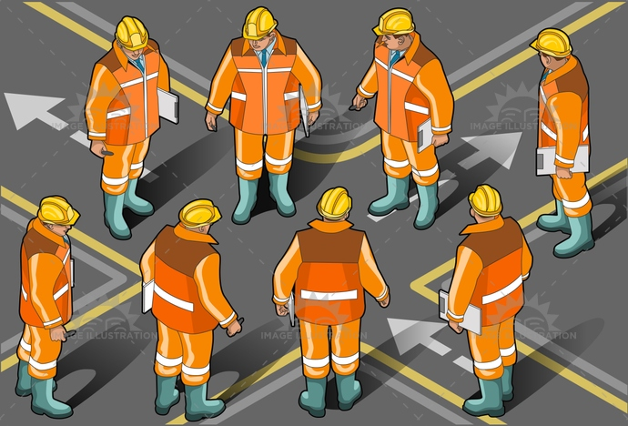 BuildingContractor, construction, ConstructionWorker, foreman, Hardhat, helmet, isolated, isometric, ManualWorker, men, Occupation, people, reflector, safety, Working