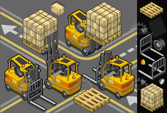 Forklift 01 Vehicle Isometric