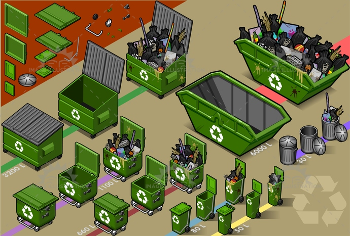 clean, dirt, EnvironmentalConservation, EnvironmentalDamage, Garbage, Garbagebag, garbagecontainer, glass, GreenWaste, HealthyLifestyle, industry, isolated, isometric, plastic, pollution, push, recyclingsymbol, reflector, rubbishbin