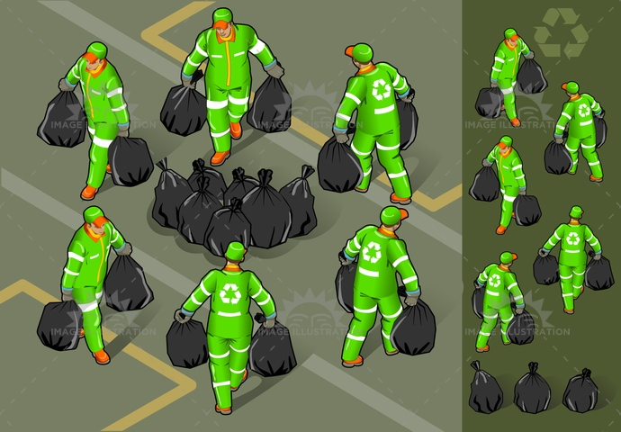 boots, dirt, Garbage, Garbagebag, garbageman, hatwithvisor, isolated, isometric, push, recyclingsymbol, reflector, Rubbergloves, rubbishbin, uniform
