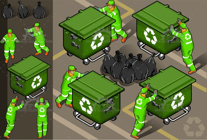 boots, dirt, Garbage, Garbagebag, garbageman, hatwithvisor, isolated, isometric, push, recyclingsymbol, reflector, Rubbergloves, rubbishbin, uniform, vector