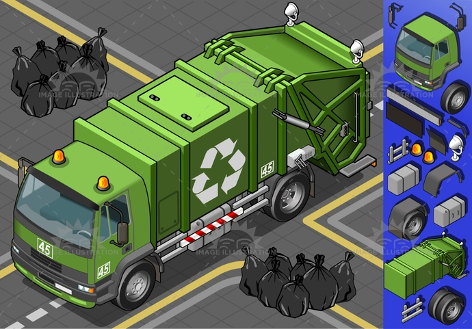 carrier, container, dirt, driving, Garbage, Garbagebag, garbagecontainer, isolated, isometric, landvehicle, lights, MotorVehicle, recyclingsymbol, reflector, rubbishbin, spotlight, tires, transport, transportation, Transportofgoods, truck, wheels