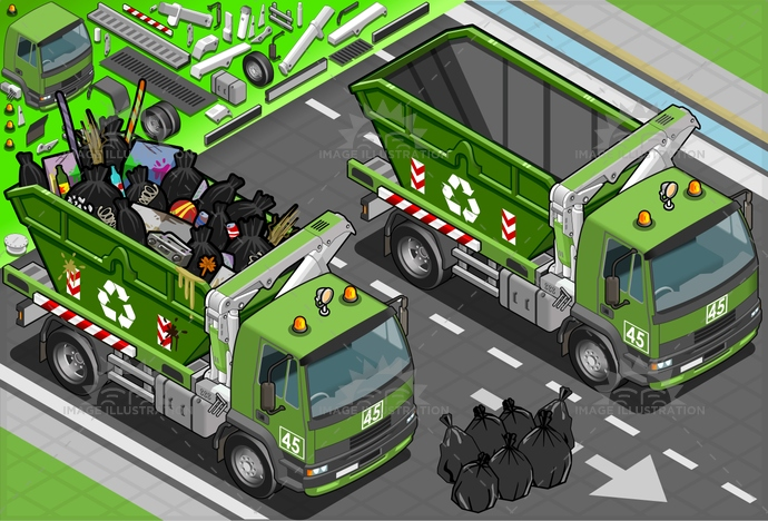 business, cargo, container, detritus, dirt, dirty, driving, dump, Garbage, Garbagebag, hydraulics, industry, isometric, metal, object, public, recycle, recycling, reflector, rubbishbin, rusty, service, spotlight, symbol, truck, utility, vehicle, wheel