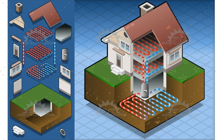 Geothermal 01 Building Isometric