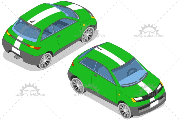 car, carrier, frontview, green, isometric, landvehicle, lights, rearview, sportscar, tires, transportation, wheels, wipers