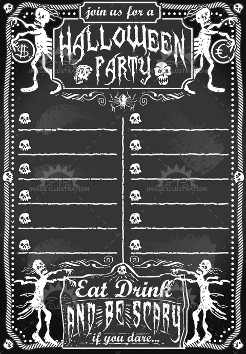autumn, background, black, blackboard, border, card, celebration, chalk, chalkboard, dollar, euro, frame, halloween, holiday, horror, illustration, invitation, night, party, retro, season, skeleton, skull, spooky, symbol, text, treat, trick, typography, vintage, white